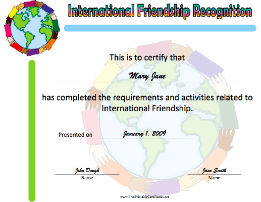 International Friendship Recognition certificate