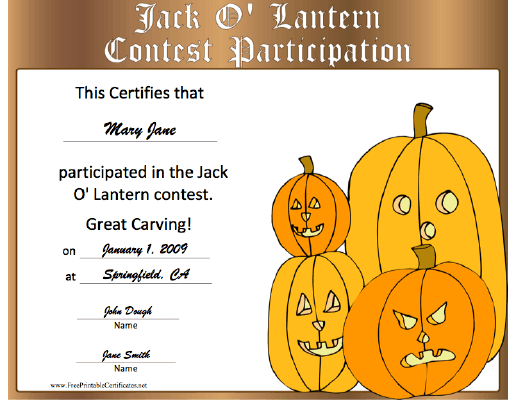 Halloween Jack-o-Lantern Contest Participation certificate