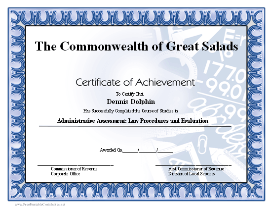 Achievement - Math certificate
