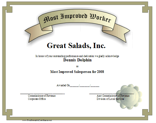 Most Improved Worker certificate