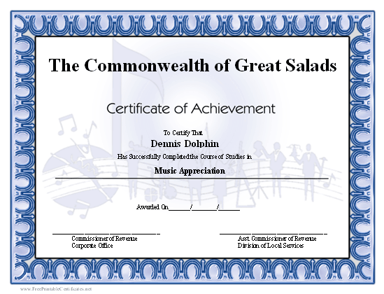 Achievement - Music certificate