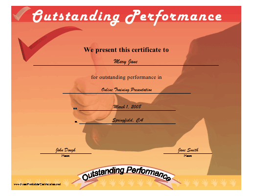 Outstanding Performance certificate