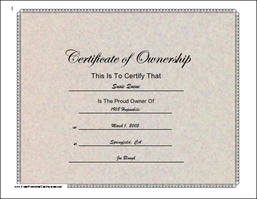 Ownership certificate
