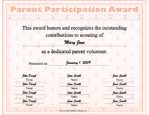 Parent Participation certificate