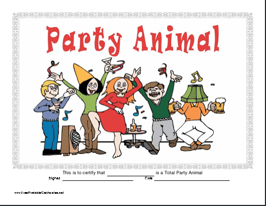 Party Animal certificate