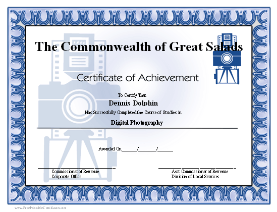 Achievement - Photography certificate