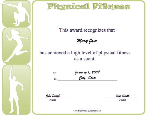 Physical Fitness certificate