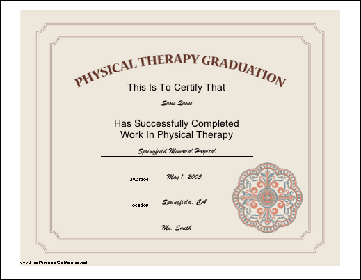 Physical Therapy Graduation certificate