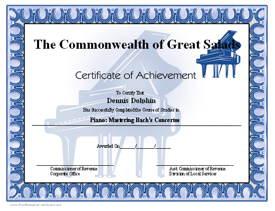 Achievement - Piano certificate