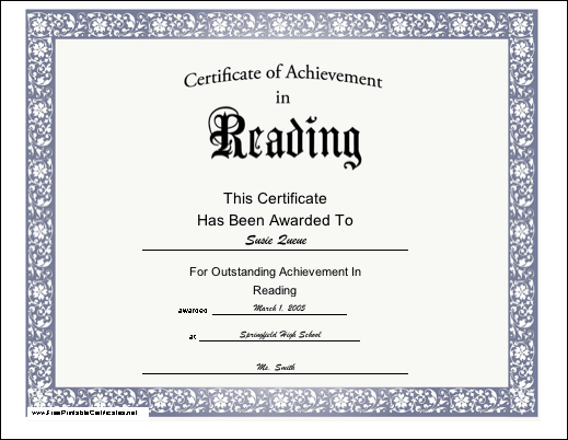 Achievement for Reading certificate