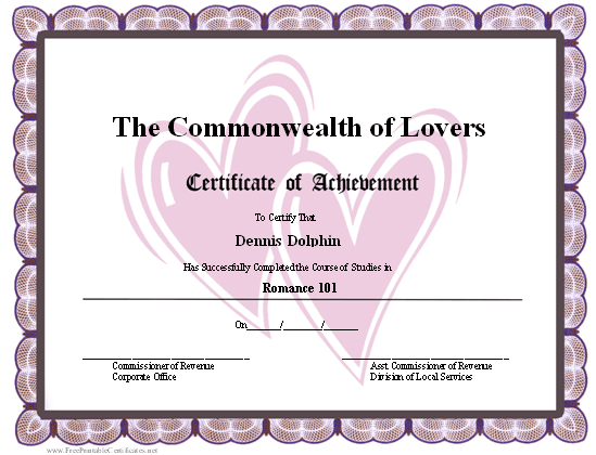 Achievement - Hearts certificate