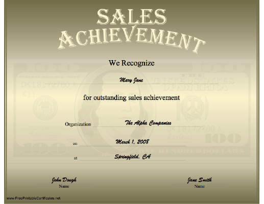 Sales Achievement certificate