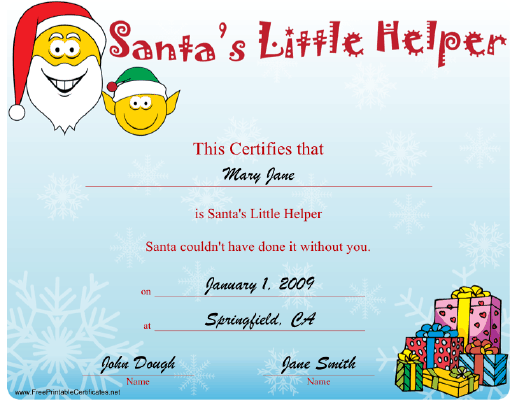 Santa's Little Helper certificate
