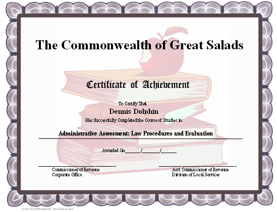 Achievement - Schoolbooks certificate