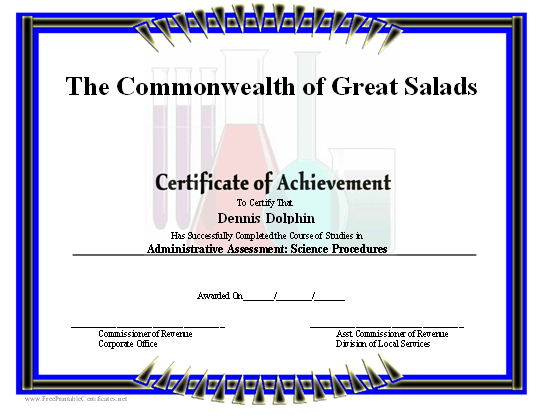 Achievement - Science certificate