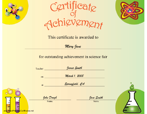 Science Achievement certificate