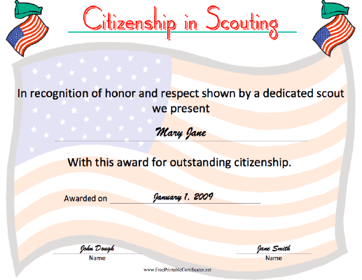 Citizenship in Scouting certificate