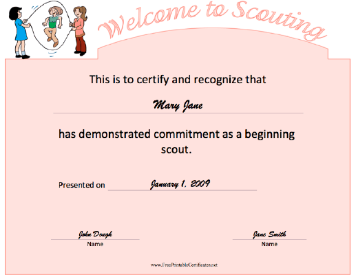 Welcome To Scouting certificate