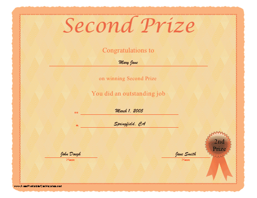 Second Prize certificate