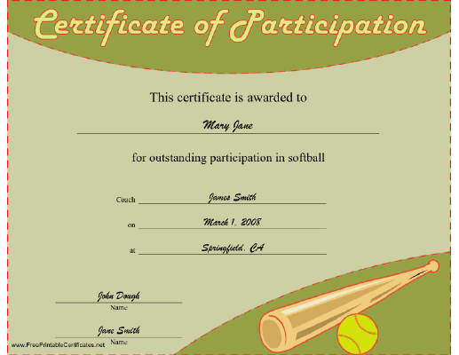 Softball Participation certificate