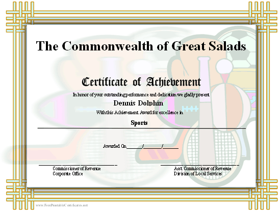 Achievement - Sports certificate