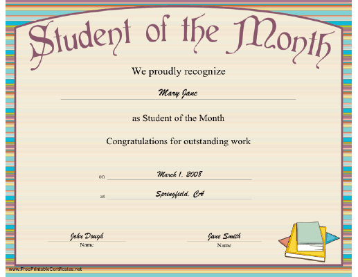 Student of the Month certificate
