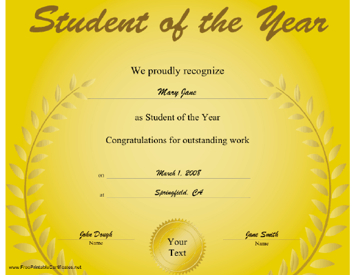 Student of the Year certificate