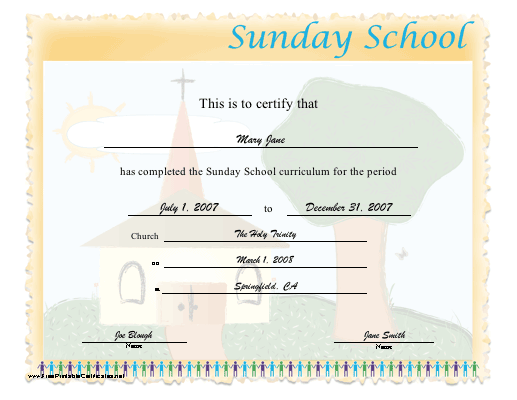 Sunday School certificate