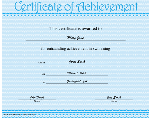 Swimming Achievement certificate