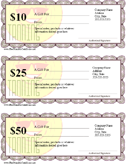 Gift Certificate - Tanning certificate