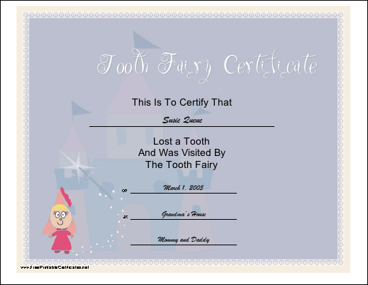 Tooth Fairy Visit certificate