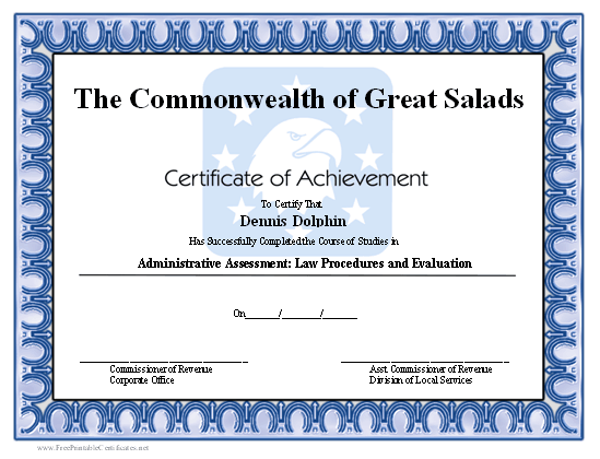 Achievement - Bald Eagle certificate