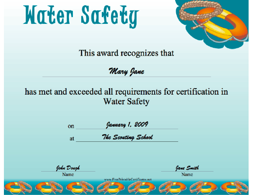 Water Safety certificate