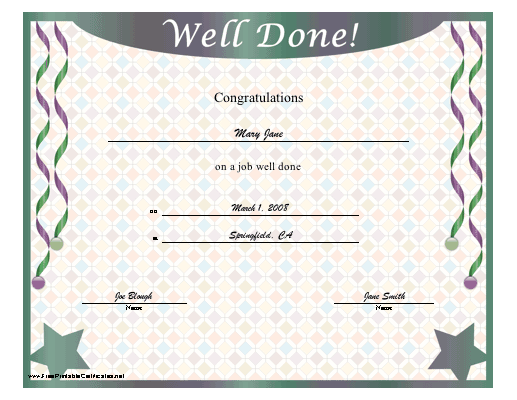 Well Done certificate