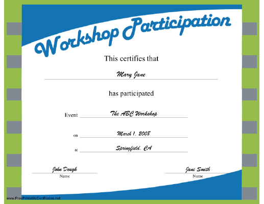 Workshop Participation certificate
