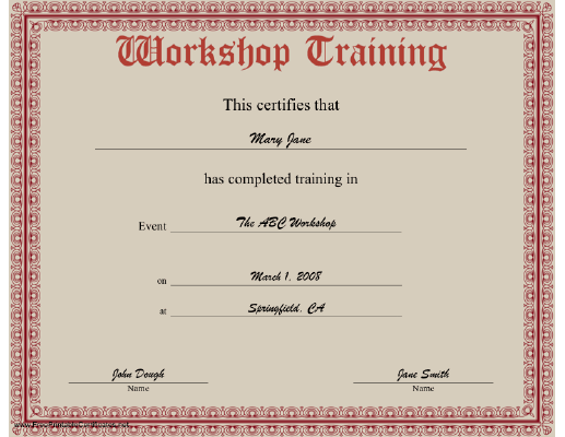 Workshop Training certificate