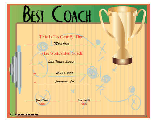 World's Best Coach certificate