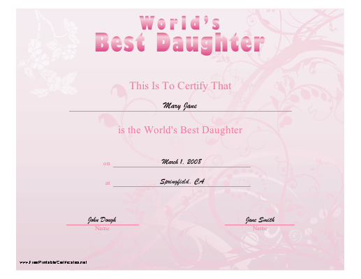World's Best Daughter certificate