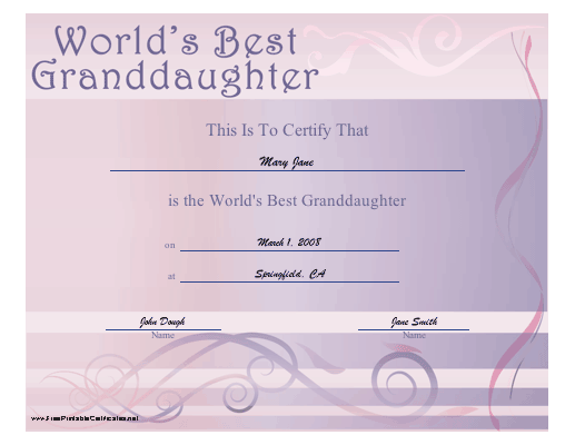 World's Best Granddaughter certificate