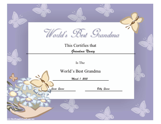 World's Best Grandma certificate