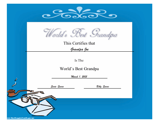 World's Best Grandpa certificate