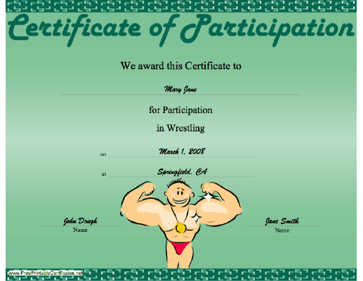Wrestling Participation certificate