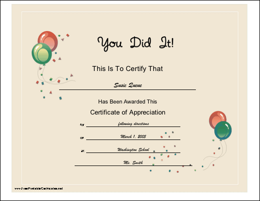 You Did It certificate