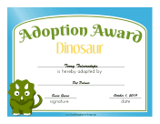 Adoption Award Dinosaur