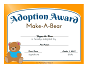 Adoption Award Make-A-Bear