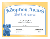 Adoption Award Stuffed Animal