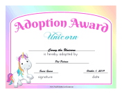 Adoption Award Unicorn