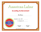 American Labor Badge certificate