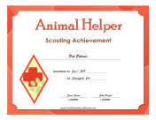 Animal Helper Badge certificate