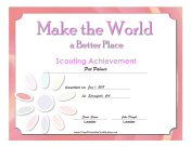 Better World Badge certificate
